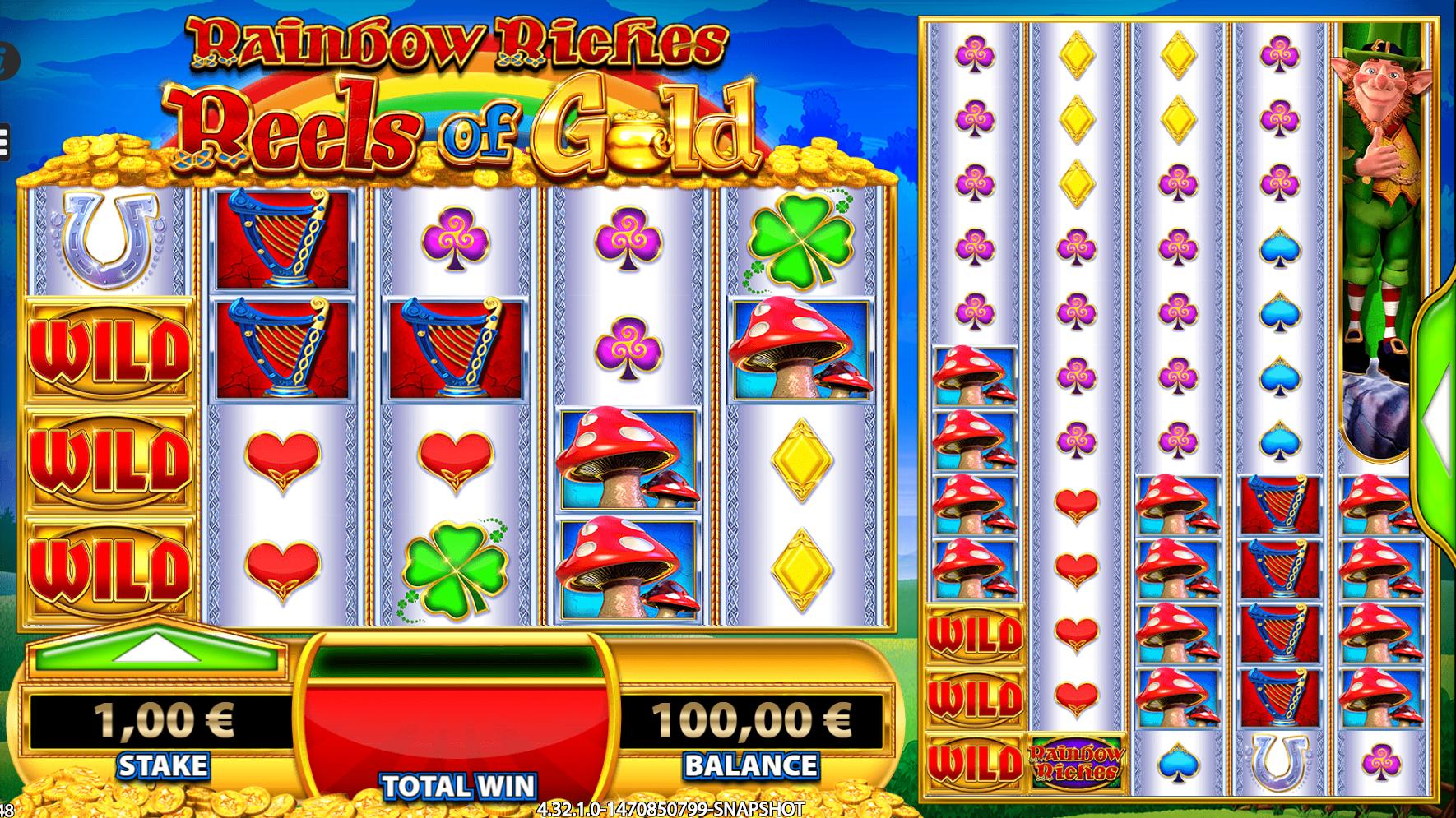 Kokeile Rainbow Riches Reels of Gold -kolikkopeliä Casumolla
